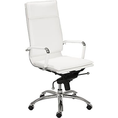Euro Style 01264WHT Gunar Pro Leatherette High-Back Task Chair with Fixed Arms, White