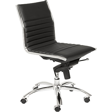 Euro Style 01266BLK Dirk Leatherette Low-Back Armless Task Chair, Black