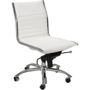 Euro Style 01266WHT Dirk Leatherette Low-Back Armless Task Chair, White