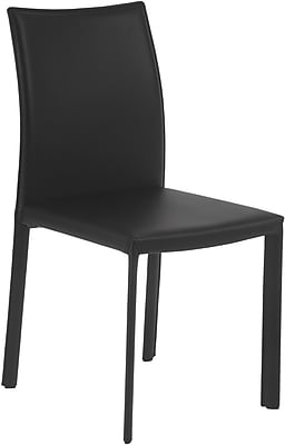 Euro Style™ Molly Leather Dining Side Chair, Black