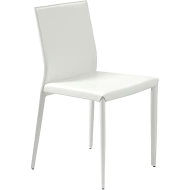 Euro Style™ Shen Leather Dining Side Chair, White