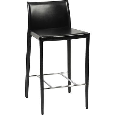 Euro Style™ Shen-C Leather Counter Stool, Black