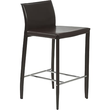 Euro Style™ Shen-C Leather Counter Stool, Brown