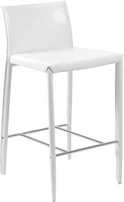 Euro Style™ Shen-C Leather Counter Stool, White