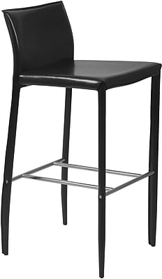 Euro Style™ Shen-B Leather Bar Stool, Black