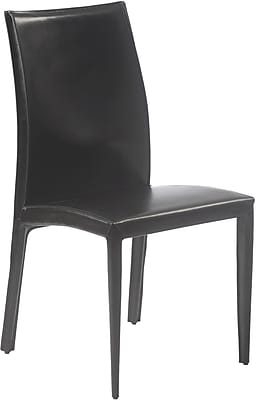 Euro Style™ Dafney Leather Dining Side Chair, Black