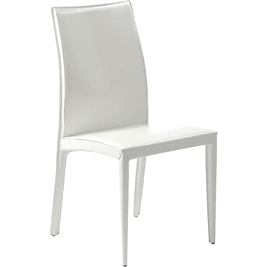 Euro Style™ Dafney Leather Dining Side Chair, White
