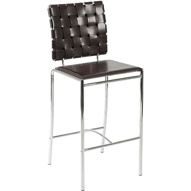 Euro Style™ Carina-C Leather Counter Stool, Brown