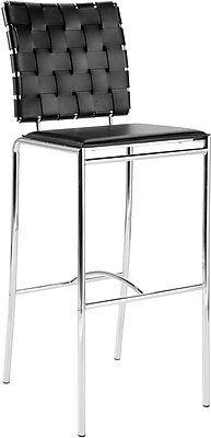 Euro Style™ Carina-B Leather Bar Stool, Black