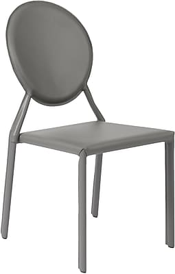 Euro Style™ Isabella Leather Dining Side Chair, Gray