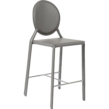 Euro Style™ Isabella-C Leather Counter Stool, Gray