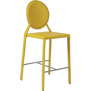Euro Style™ Isabella-C Leather Counter Stool, Yellow