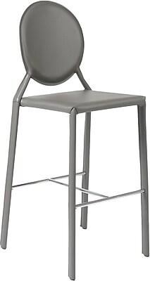 Euro Style™ Isabella-B Leather Bar Stool, Gray