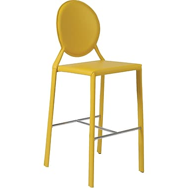 Euro Style™ Isabella-B Leather Bar Stool, Yellow