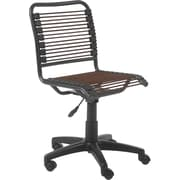 Euro Style 02538 Bungee Cord Low-Back Armless Desk Chair, Brown