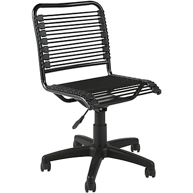 Euro Style 02541 Bungee Cord Low-Back Armless Desk Chair, Black