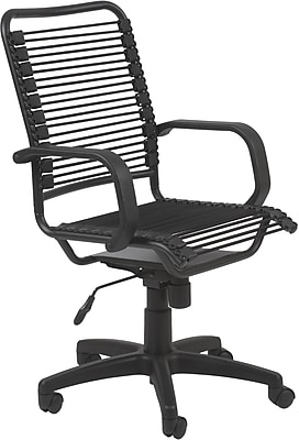Euro Style Mid-Back Bungie Cord Desk Chair, Fixed Arms, Black