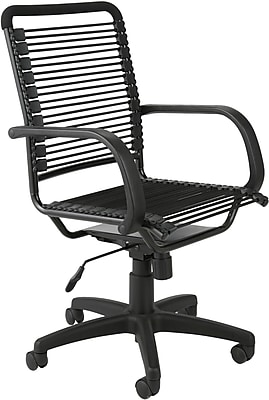 Euro Style 02551 Bungee Cord High-Back Desk Chair with Fixed Arms, Graphite Black