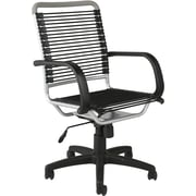Euro Style 02556 Bungee Cord High-Back Desk Chair with Fixed Arms, Black