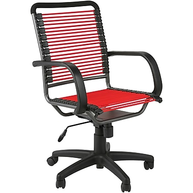 Euro Style 02557 Bungee Cord High-Back Desk Chair with Fixed Arms, Red