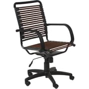 Euro Style 02570BRN Bungee Cord Flat High-Back Desk Chair with Fixed Arms, Brown