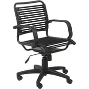 Euro Style 02572BLK Bungee Cord Mid-Back Desk Chair with Fixed Arms, Black