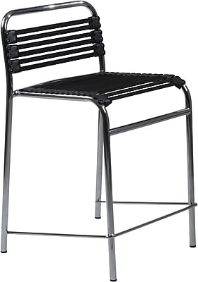 Euro Style™ Bungie-C Bungee Cord Flat Counter Stool, Black