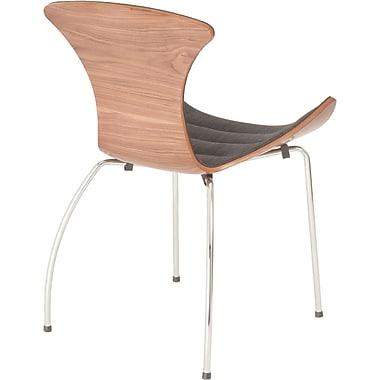 Euro Style™ Stefano Fabric Dining Side Chair, Dark Gray/Walnut