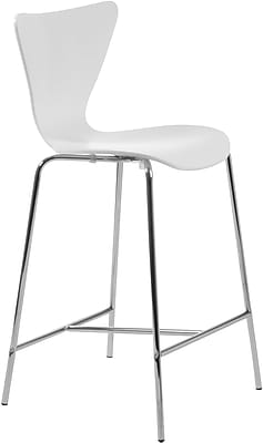 Euro Style™ Tendy-C Laminated Wood Counter Stool, White