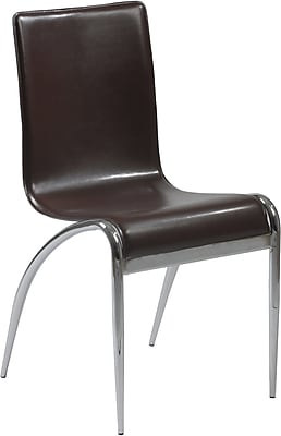 Euro Style™ Grace Leather Dining Side Chair, Brown