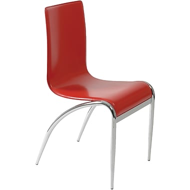 Euro Style™ Grace Leather Dining Side Chair, Red