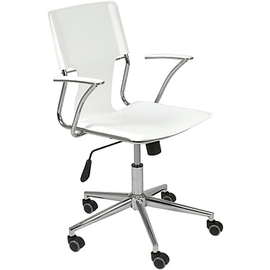 Euro Style 04404 Terry Leatherette Executive Office Chair with Fixed Arms, White