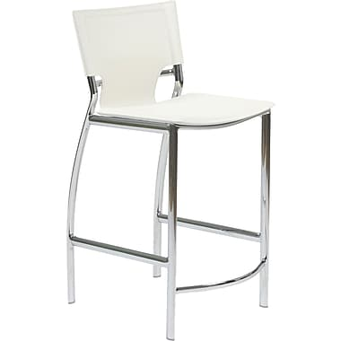 Euro Style™ Vinnie-C Leather Counter Stool, White