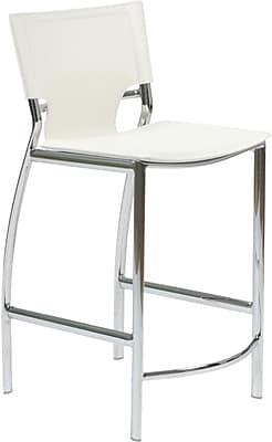 Euro Style™ Vinnie-C Leather Counter Stool, White