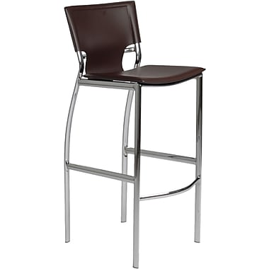 Euro Style™ Vinnie-B Leather Bar Stool, Brown