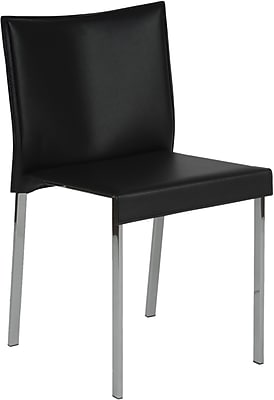 Euro Style™ Riley Leather Dining Side Chair, Black