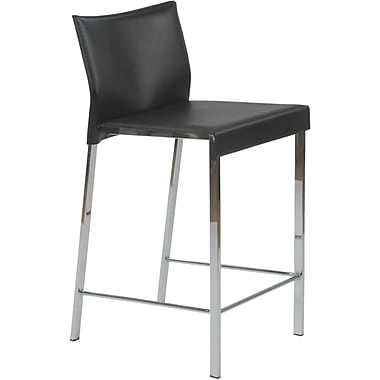 Euro Style™ Riley-C Leather Counter Stool, Black