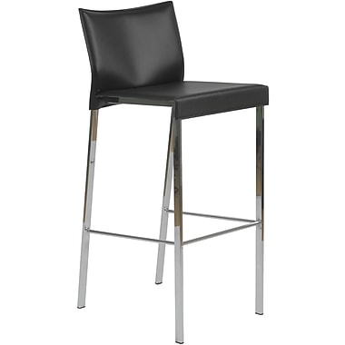 Euro Style™ Riley-B Leather Bar Stool, Black