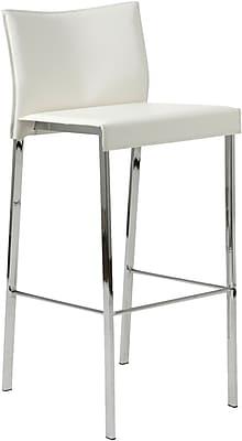 Euro Style™ Riley-B Leather Bar Stool, White