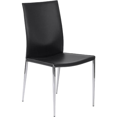 Euro Style™ Max Leather Dining Side Chair, Black