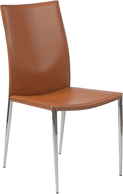 Euro Style™ Max Leather Dining Side Chair, Cognac