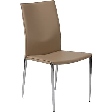 Euro Style™ Max Leather Dining Side Chair, Tan