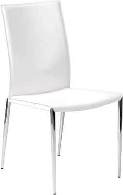 Euro Style™ Max Leather Dining Side Chair, White