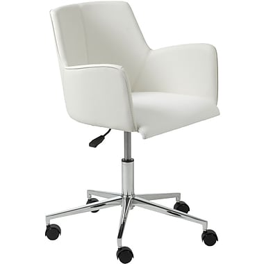 Euro Style 17622WHT Sunny Leatherette Executive Chair with Fixed Arms, White