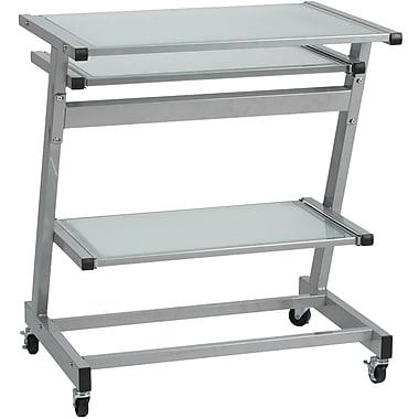 Euro Style™ Z Glass Computer Cart, Aluminum