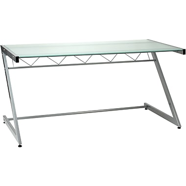 Euro Style Z Deluxe Aluminum Tempered Frosted Glass Large Desk