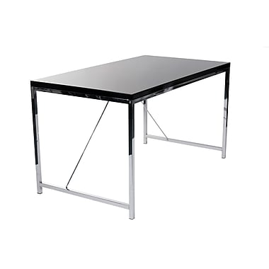 Euro Style™ Gilbert High Gloss Lacquer Wood Desk, Black