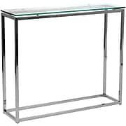 "Euro Style™ Sandor 30 1/2"" x 36"" x 10"" Glass Console Table, Clear"