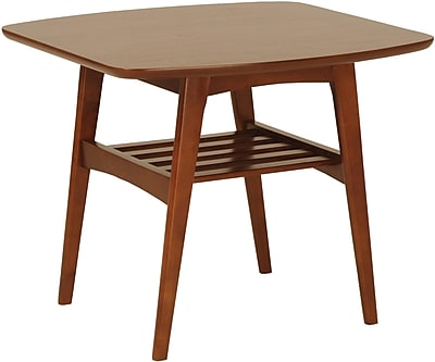 """""Euro Style 23 1/2"""""""" Carmela Square MDF Side Table, Walnut"""""" 50034"