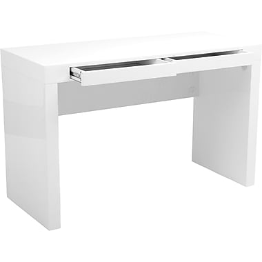 Euro Style Donald High Gloss Lacquer Mdf Desk White
